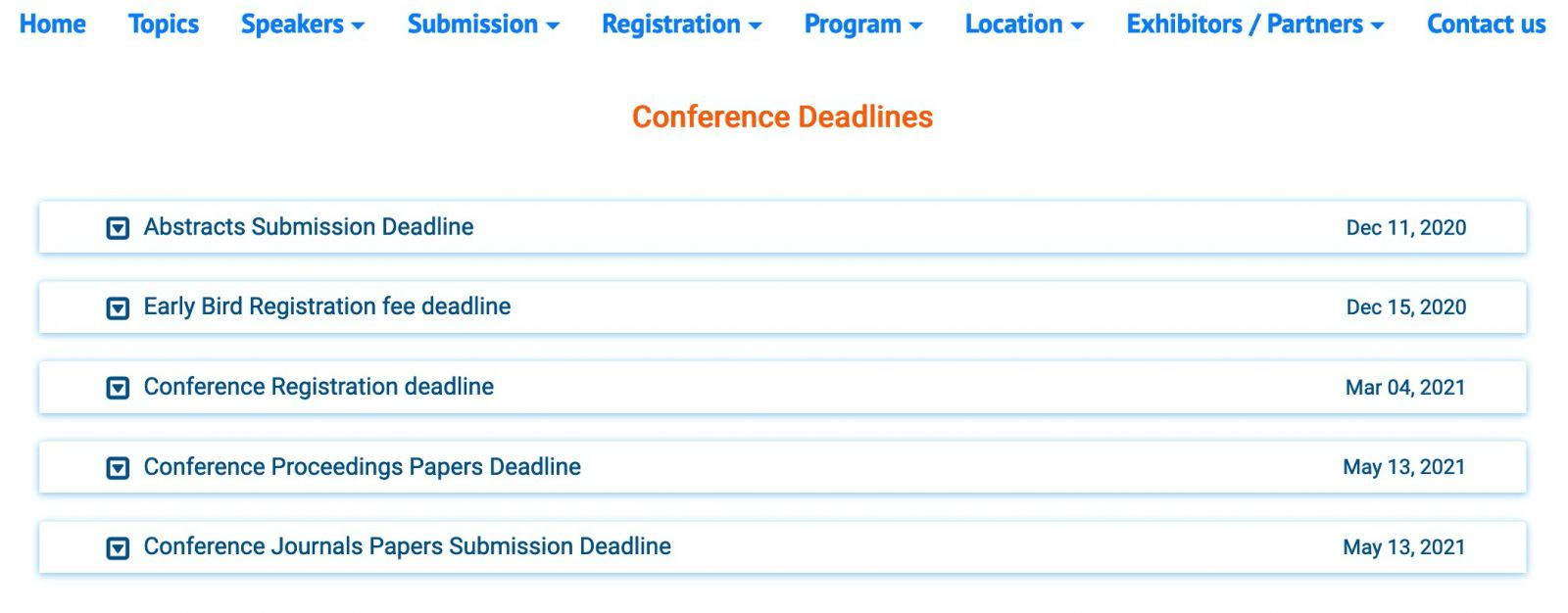 Conference deadlines page