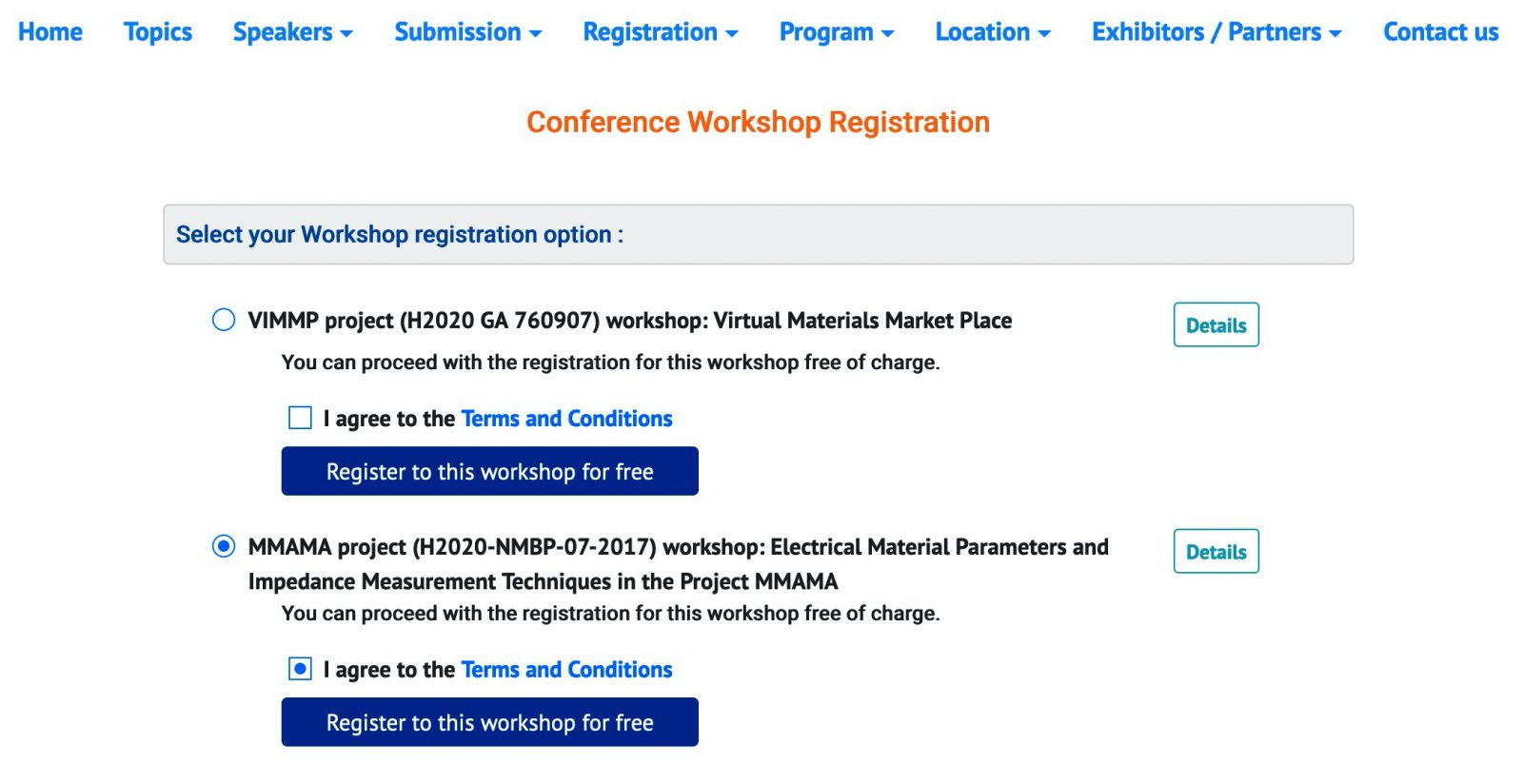 Conference workshop registration page